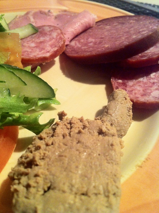An Estonian breakfast of cold cuts, Estonian sausages, pate and vegetables at the Hotel St. Petersbourg!
