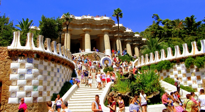Parc Guell in Barcelona, Spain.