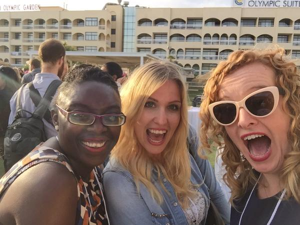 "At the TBEX EUROPE 2015 Friday night ""Sangria on the Roof"" party, sponsored by Eurail. With myself, Carly Hulls and marta@a-girlwhotravels.com in Lloret de Mar."