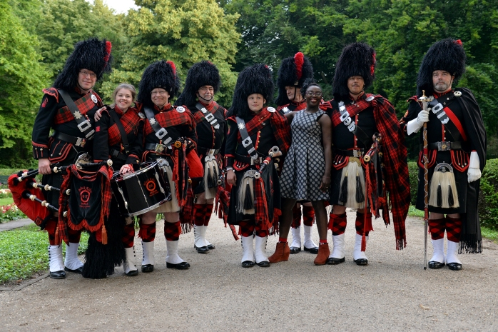 Myself with the Scottish bagpipe and drumming group - The Black Kilts Berlin Pipes & Drums at the English TeaHouse in Berlin. © Pascale Scerbo Sarro