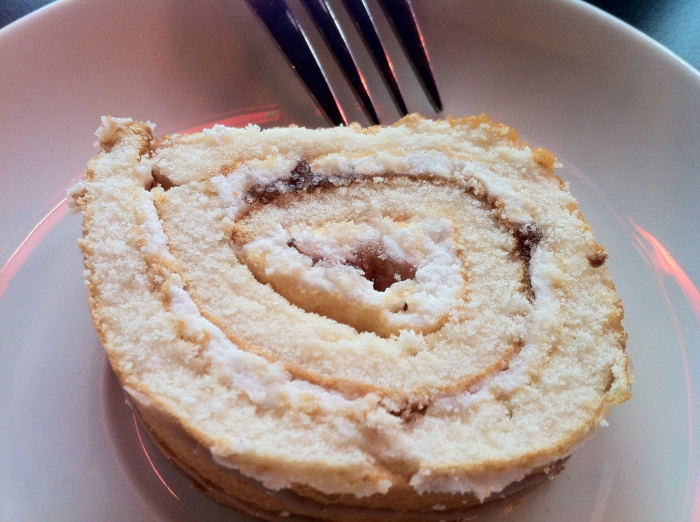 A slice of swiss roll in Helsinki, Finland.