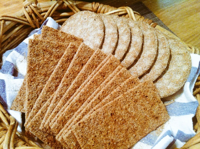 Näkkileipä - a cracker version of rye bread and Finnish Crisp Crackers.
