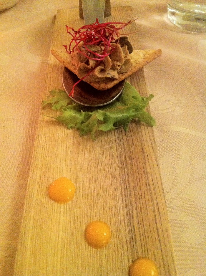 Homemade duck liver paté with dried plums at My City Hotel in Tallinn.