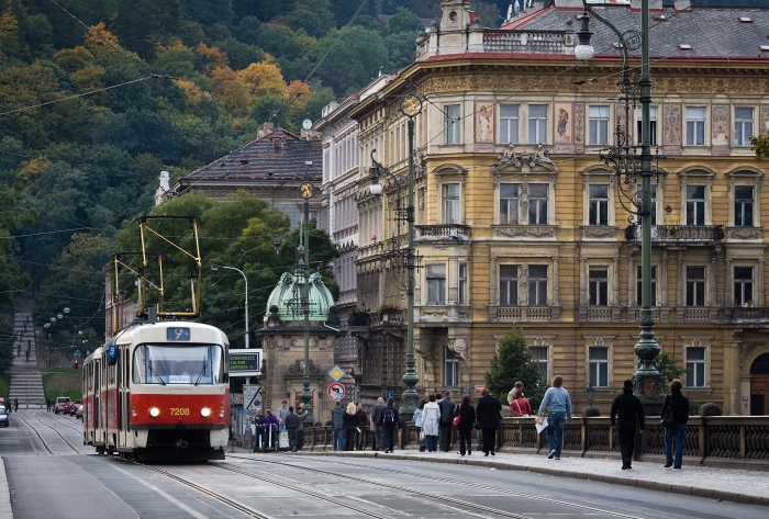 A tram on a street by the river in Prague. © Jorge Royan
