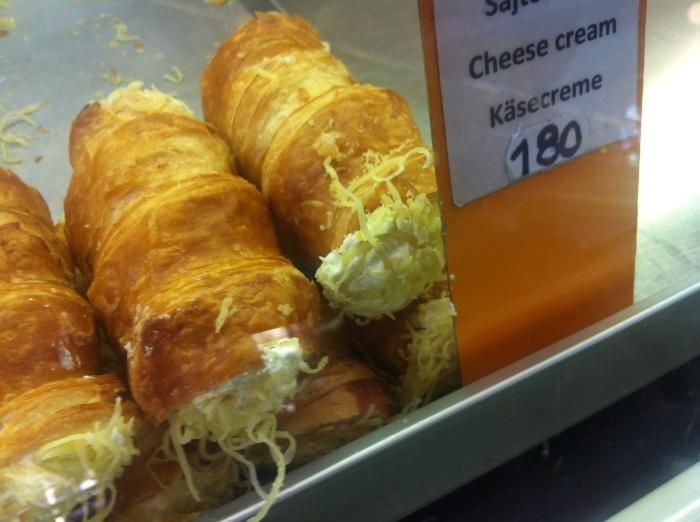 Cheese cream cornets.