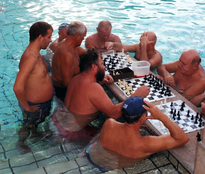 Chess players in the Széchenyi Thermal Bath and Swimming Pool - Budapest.