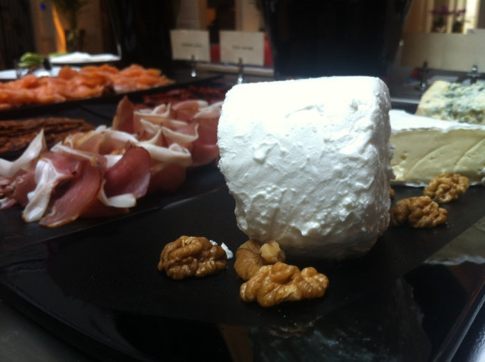 An assortment of cheese and cold cuts at the Aria Hotel Budapest.