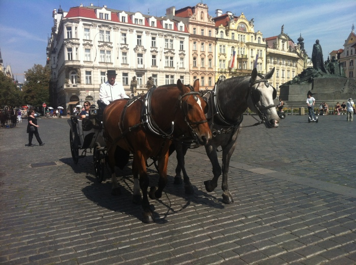 In Staroměstská - the Old Town Square in Prague.