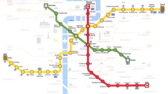 A map of the Metro Underground system in Prague.