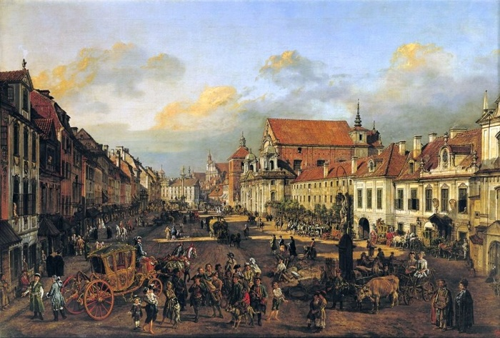 Bellotto Krakow or Cracow Suburb leading to the Castle Square in Poland. Bernardo Bellotto: a Venetian painter in Warsaw - Musée du Louvre.