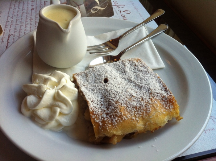 Our delightful apple strudel, custard and cream at the Café Louvre, Prague.