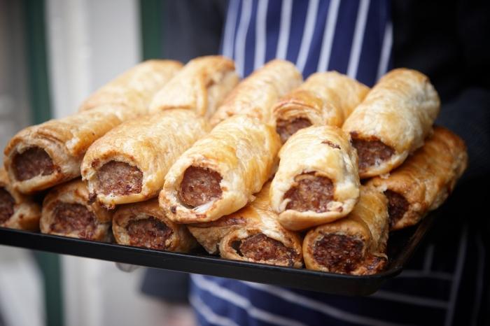 Fresh sausage rolls. ©VisitBritain Joanna Henderson