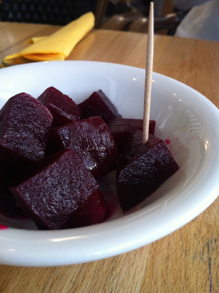 Pickled beetroot.