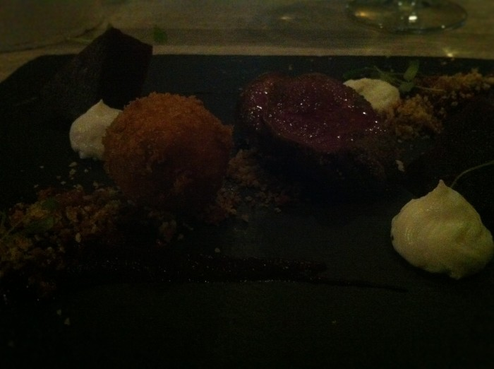 My wood pigeon breast served with pigeon leg, scotched egg, beetroot with a bacon crumb, at the Cowshed Restaurant in Bristol.