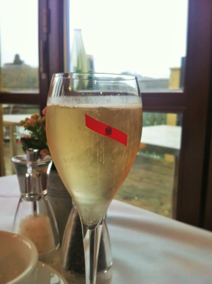 A glass of champagne at the Avon Gorge Hotel, Bristol.