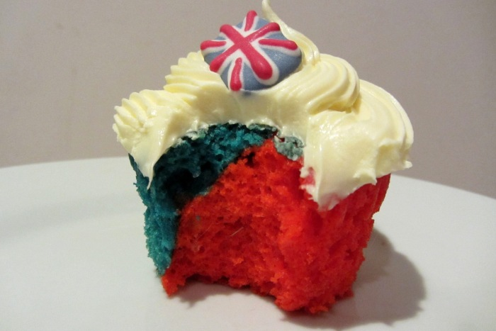 Red and blue cupcake