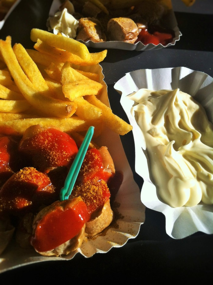 Berlin's most famous iconic meal - currywurst, chips & mayo!