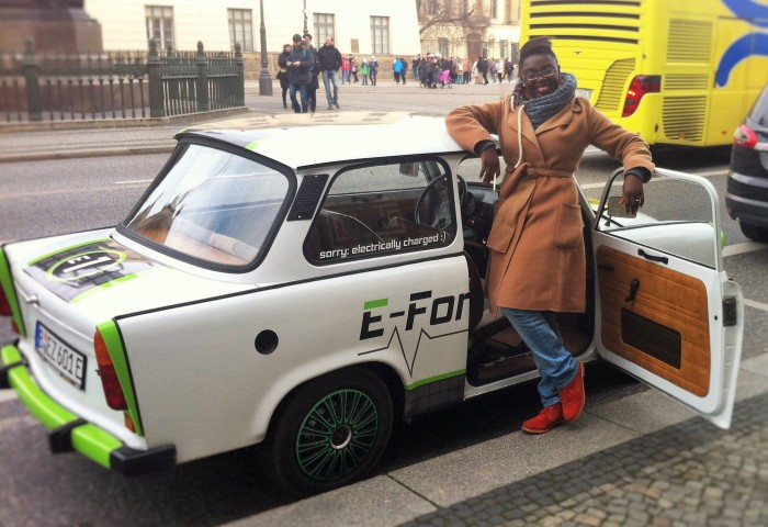 Myself actually being driven in a real Trabi, in Berlin!