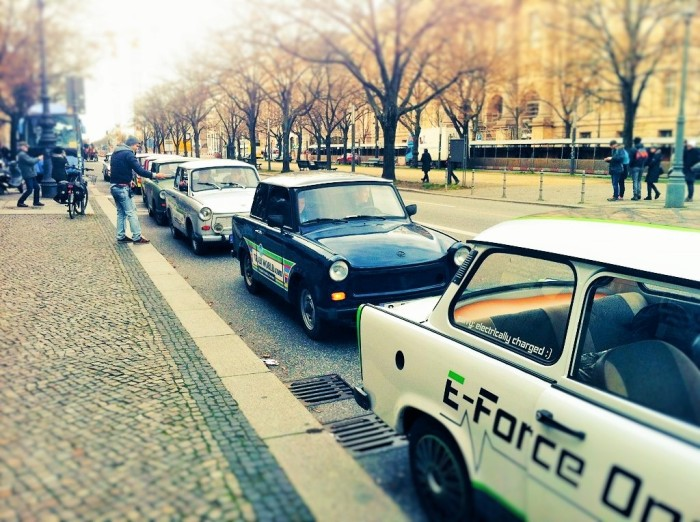 Our convoy of trabis in single file! In Berlin!