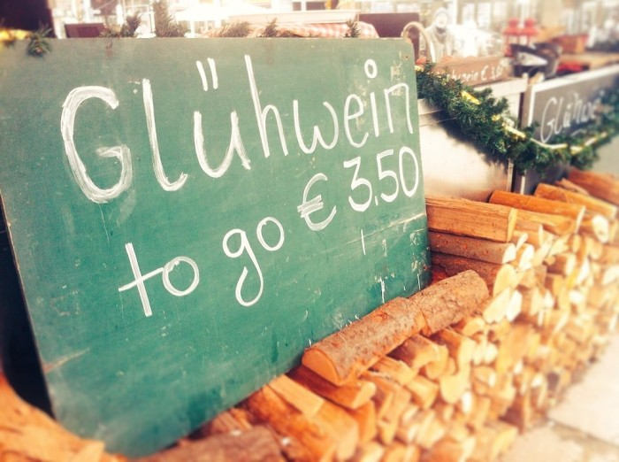 Glühwein or mulled wine to go - at the German Christmas Market