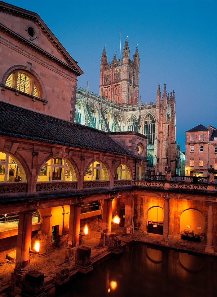 A night view of the Great Bath of The Roman Baths - a World Heritage site ©VisitBritain - David Angel