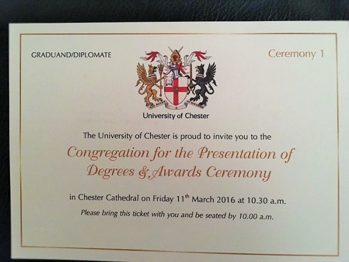 My personal Congregation Invitation card for the University of Chester.