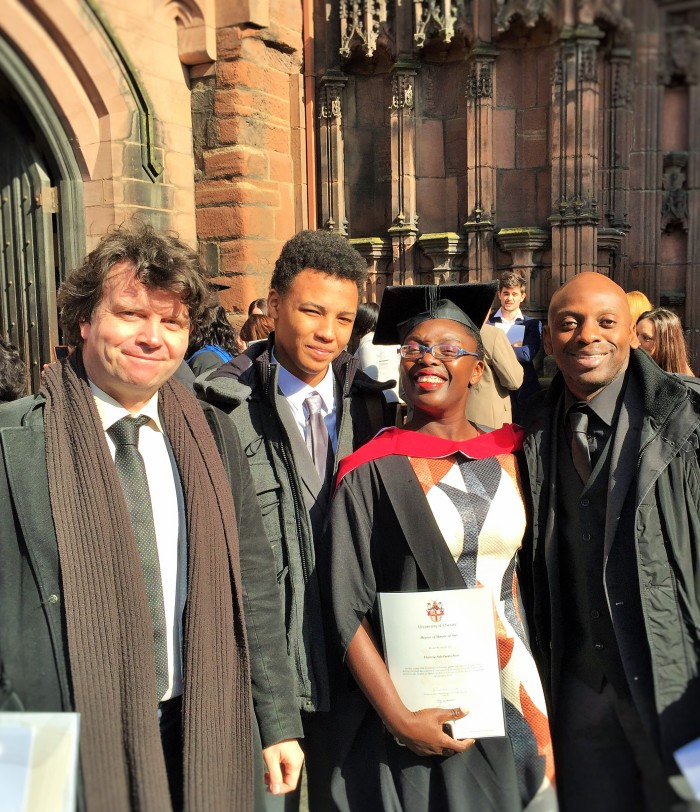 The Music Producer, The Tall Young Gentleman, myself, and my brother - The Book Writer outside the Chester Cathedral!
