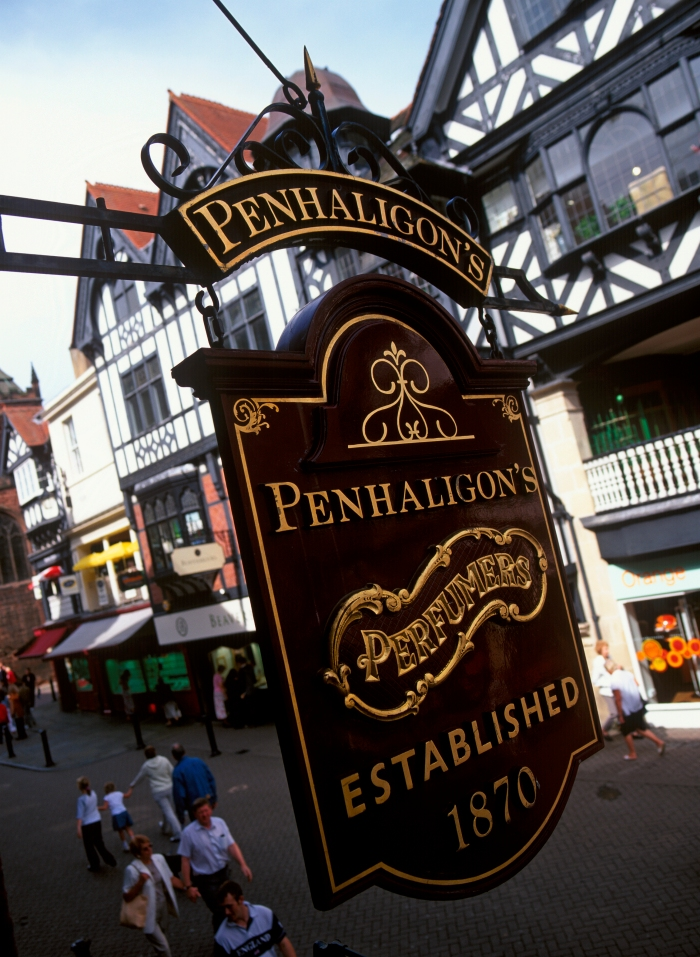 A view of the Penhaligon's shop sign from The Rows in Chester!