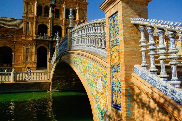 On the bridge at the Plaza de España in Seville!