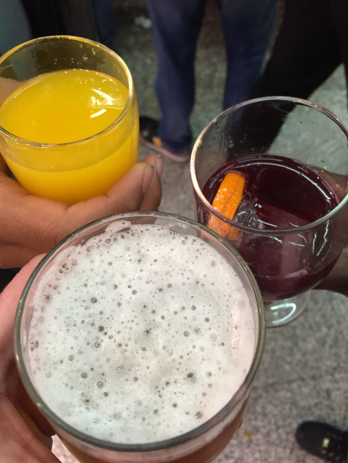 Real drinks with real prices. On our own at the Museo del Jamon in Madrid!
