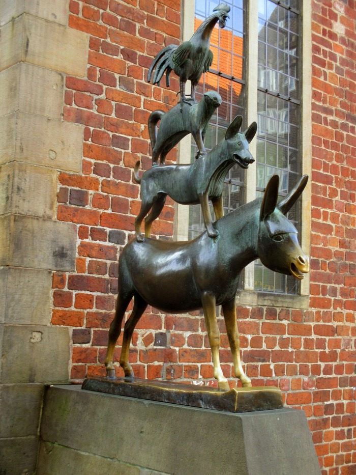 I just couldn't believe that the animal statues that were dotted all over the city, were the animals in the old Grimm folk story – The Musicians of Bremen!