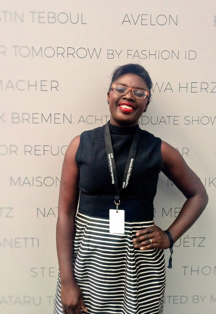 Myself at Mercedes-Benz Fashion Week Berlin! I'm wearing a British designer - Ted Baker - by the way lol!