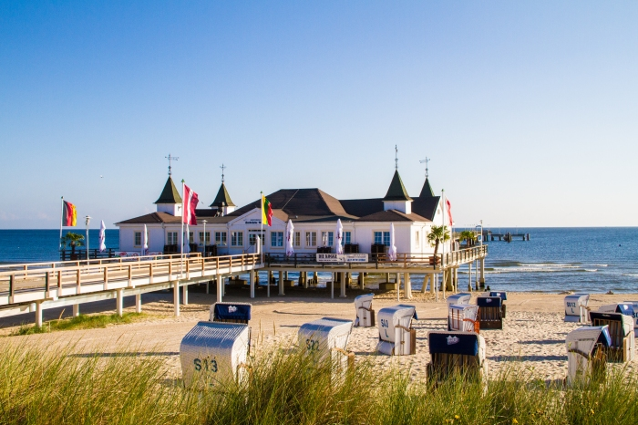 On the pier in Usedom - a Baltic Sea island in Pomerania, Germany!