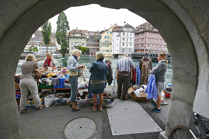 The flea market in Lucerne, was just around the corner! Why you should visit Switzerland, and eat cheese!