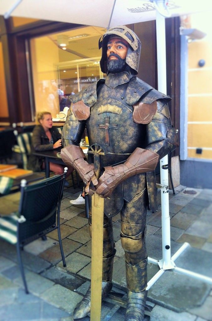 A knight in the Old Town of Bratislava. Should you visit Bratislava, or stay at home and not bother!