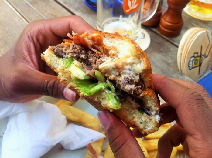 "A huge ""Klubovňa"" hamburger in the Old Town in Bratislava, Slovakia"