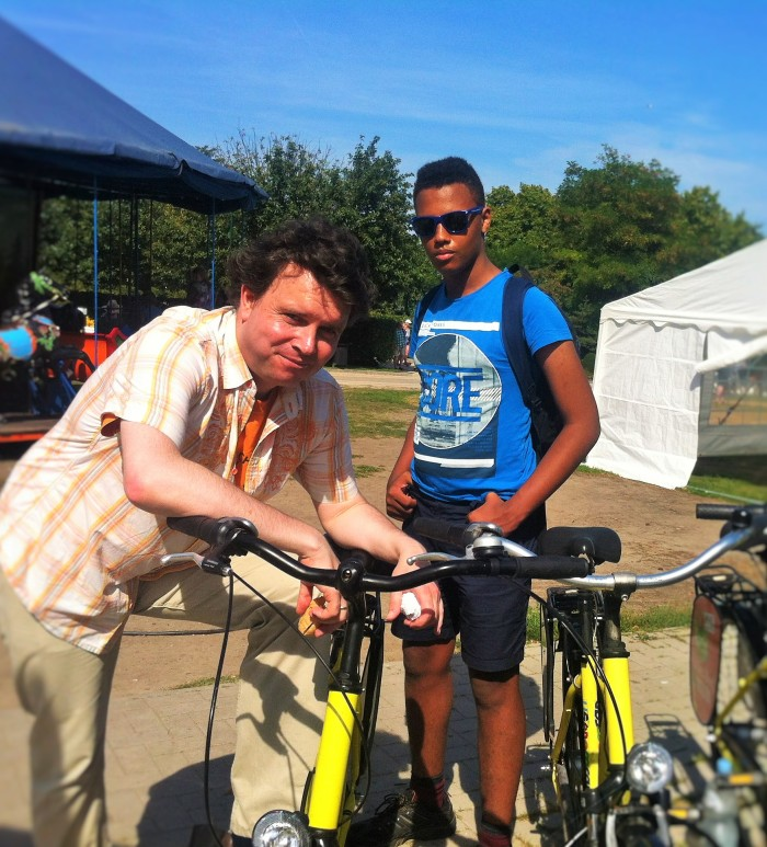 "The Music Producer and ""The Tall Young Gentleman"" about to cycle off in Usedom, Germany."