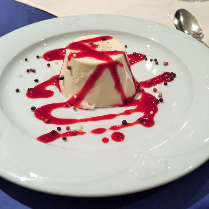 Panna cotta dribbled with raspberry sauce and black and white peppercorns! ©The Music Producer - Frank Böster