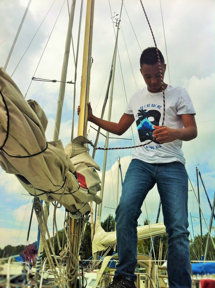 """""""The Tall Young Gentleman"""" taking to the sails in Mardorf."""