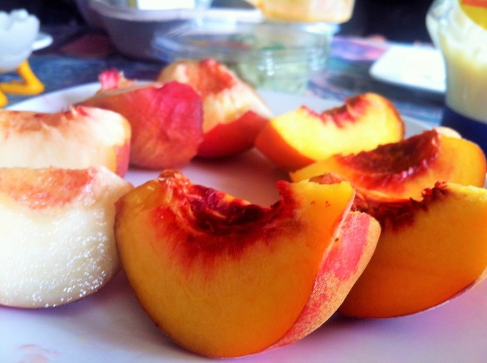 Fresh apricots and peaches!