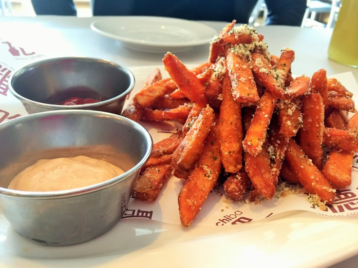 Sweet potato fries with spicy chipotle mayo dipping