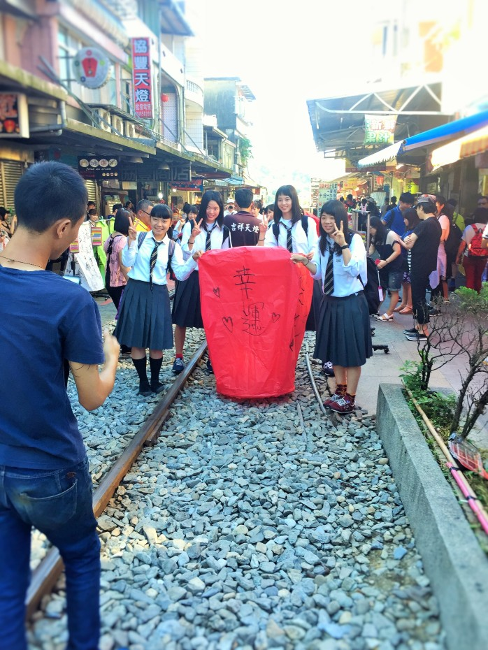 Schoolgirls in Taiwan for the Pingxi Sky Lantern experience!
