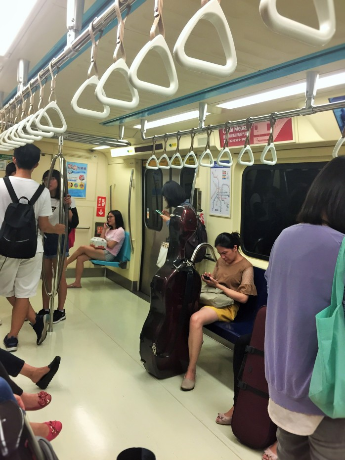 Single journeys in Taipei cost just NT$20 (Taiwanese dollars) or €0.60 cents per short hop journey. Plenty of room to take your cello with you!