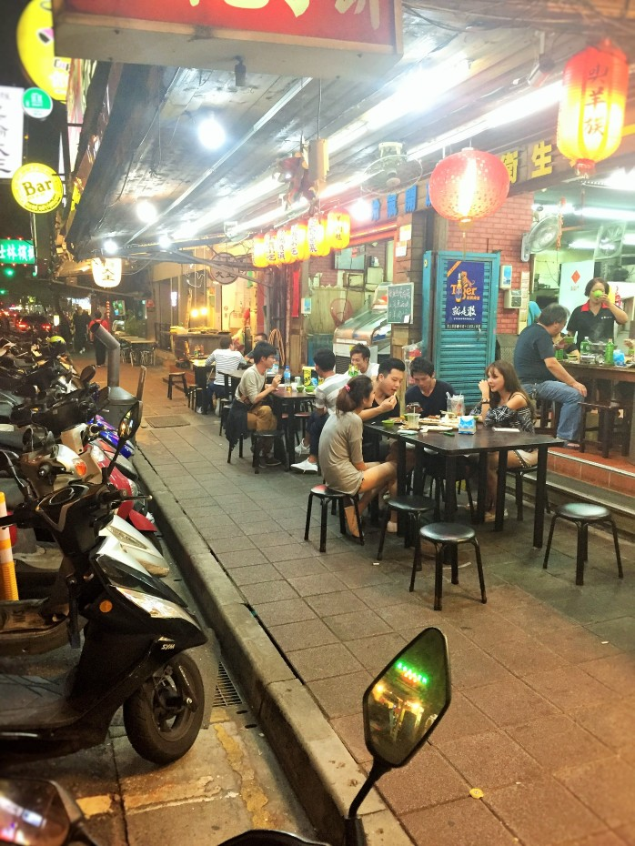 Having a meal at a kerbside restaurants, with mates in Taiwan!