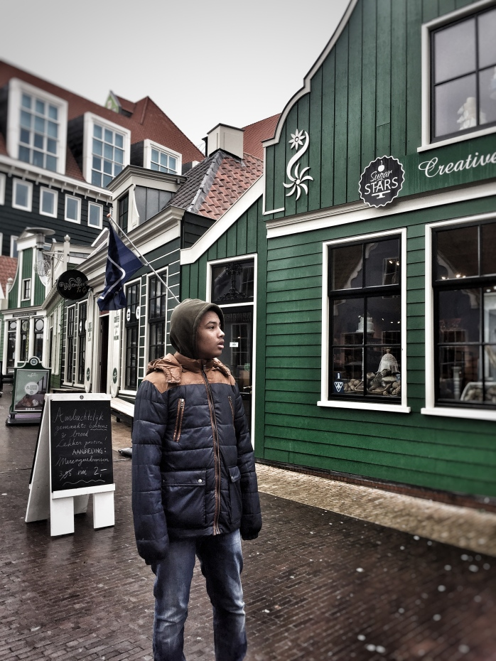 "How to visit Amsterdam: Introducing Zaandam - a Dutch traditional town with windmills! ""The Tall Young Gentleman looking cold & wet!"