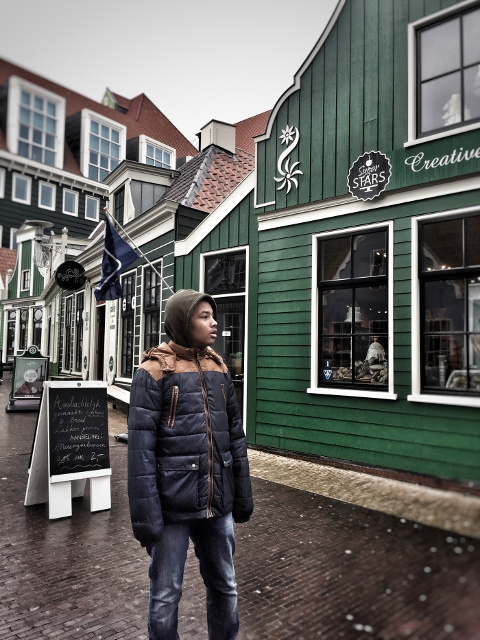 """How to visit Amsterdam: Introducing Zaandam - a Dutch traditional town with windmills! """"The Tall Young Gentleman looking cold & wet!"""