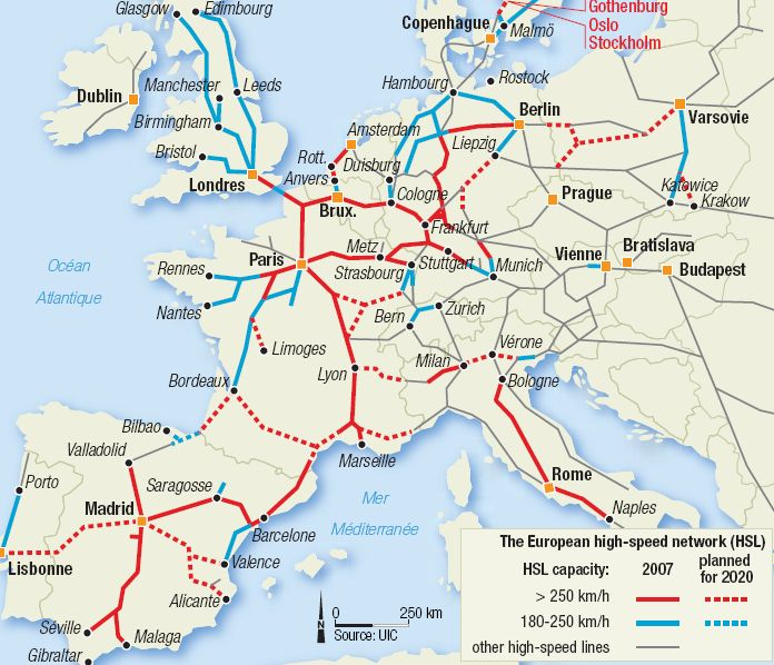 A map of the European High – Speed Train Network! | The British Berliner