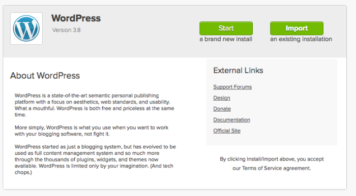 "Click on the green ""Start"" button that will start the WordPress installation process"