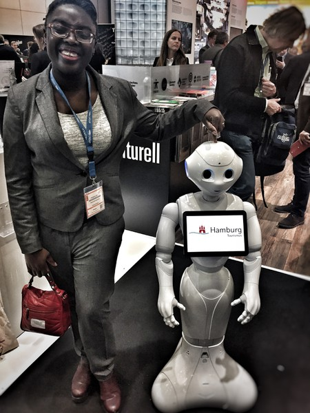 The Hamburg stand at ITBBerlin was very busy & here's why - An artificially intelligent tourism robot!