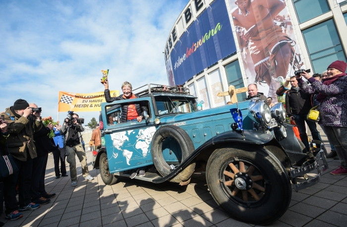 Around the world with Heidi Hetzer & her Old-Timer car!<br /> ITB Berlin ©2017 Messe Berlin
